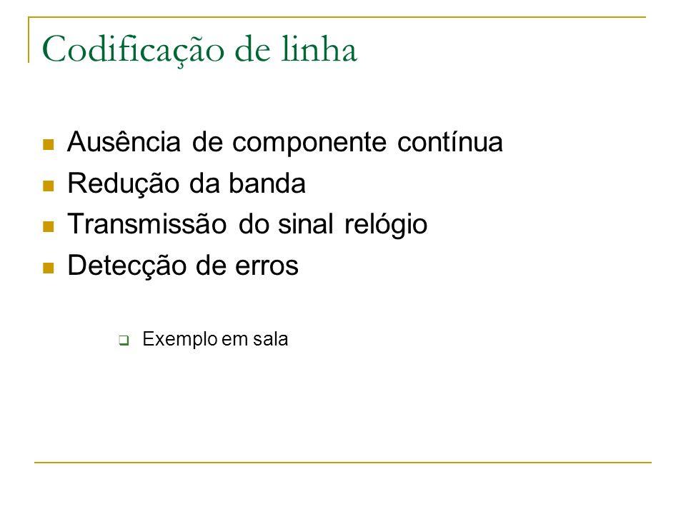 Codificação de linha Ausência de componente contínua Redução da banda