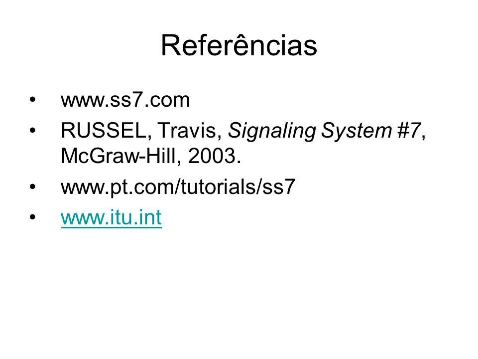 Referências www.ss7.com. RUSSEL, Travis, Signaling System #7, McGraw-Hill, 2003. www.pt.com/tutorials/ss7.