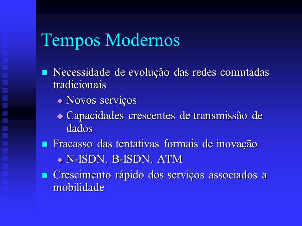 Tempos Modernos Necessidade de evolução das redes comutadas tradicionais. Novos serviços. Capacidades crescentes de transmissão de dados.