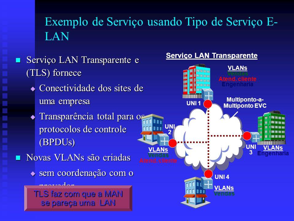Exemplo de Serviço usando Tipo de Serviço E-LAN