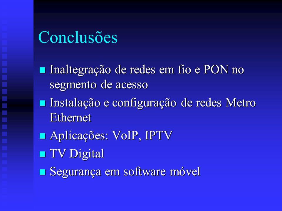 Conclusões Inaltegração de redes em fio e PON no segmento de acesso