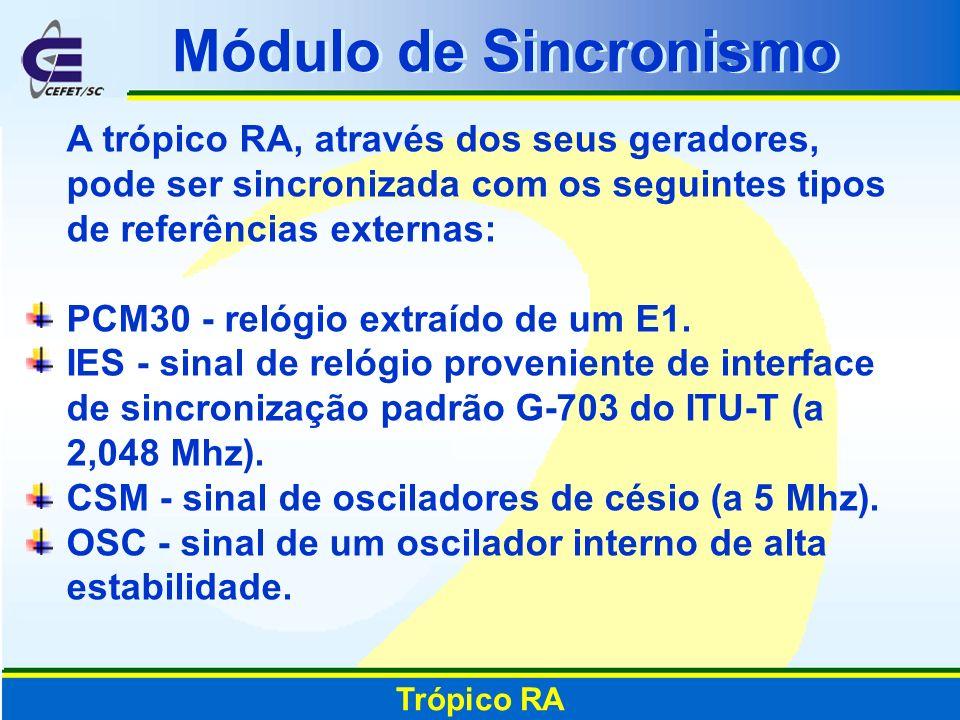 Módulo de SincronismoA trópico RA, através dos seus geradores, pode ser sincronizada com os seguintes tipos de referências externas: