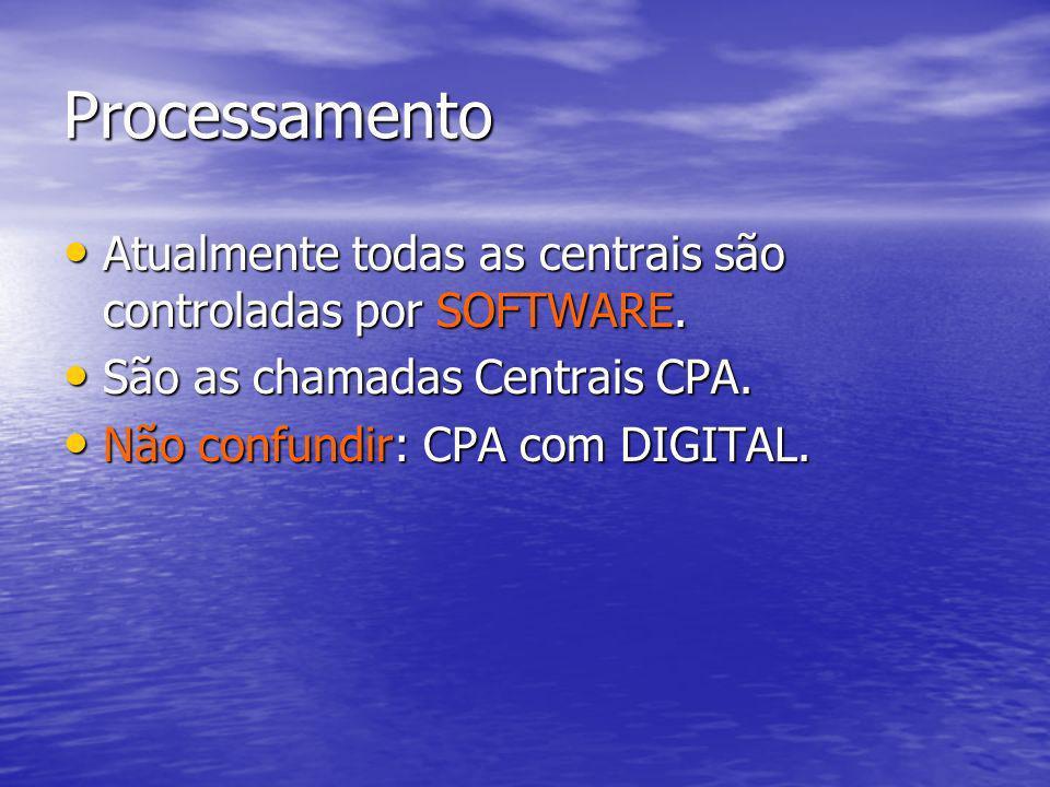 Processamento Atualmente todas as centrais são controladas por SOFTWARE. São as chamadas Centrais CPA.