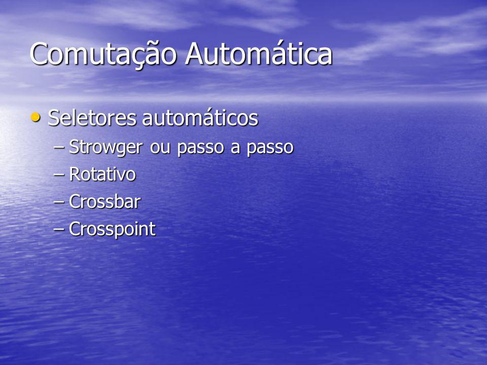 Comutação Automática Seletores automáticos Strowger ou passo a passo