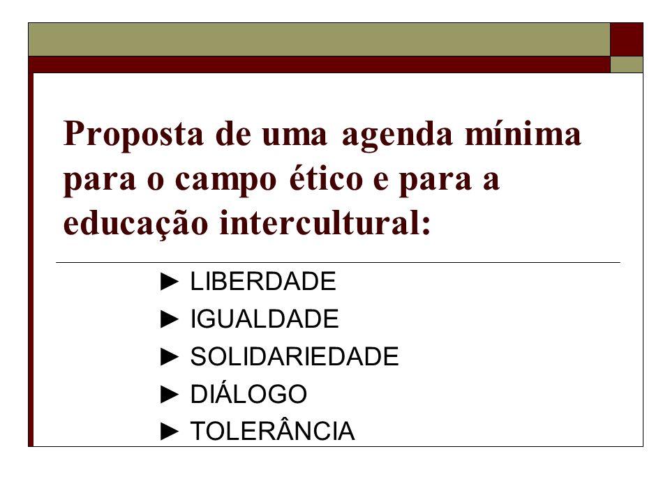 Proposta de uma agenda mínima para o campo ético e para a educação intercultural: