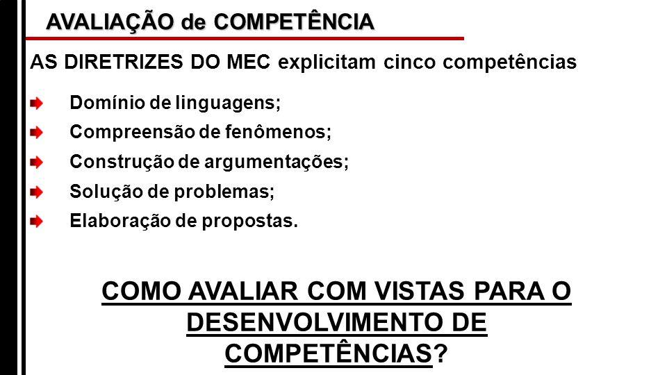 COMO AVALIAR COM VISTAS PARA O DESENVOLVIMENTO DE COMPETÊNCIAS