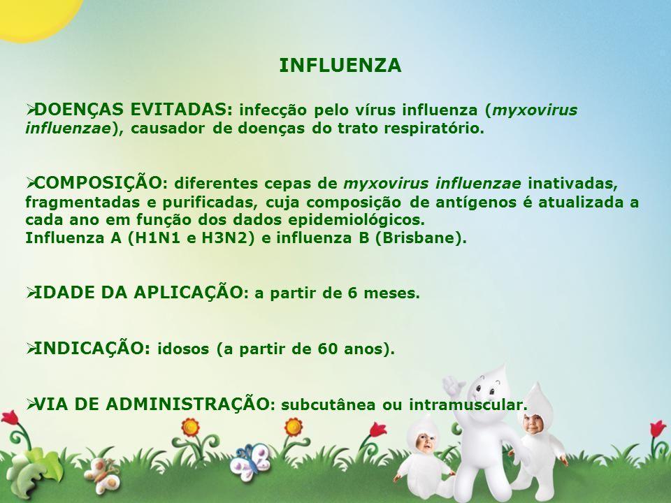 INFLUENZADOENÇAS EVITADAS: infecção pelo vírus influenza (myxovirus influenzae), causador de doenças do trato respiratório.