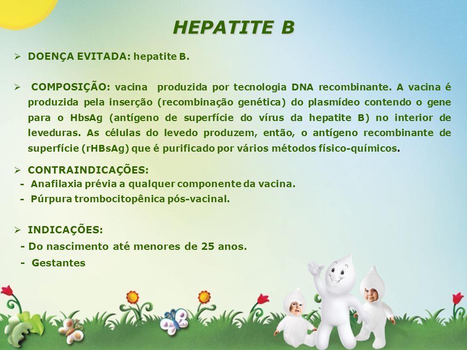HEPATITE B DOENÇA EVITADA: hepatite B. CONTRAINDICAÇÕES: INDICAÇÕES: