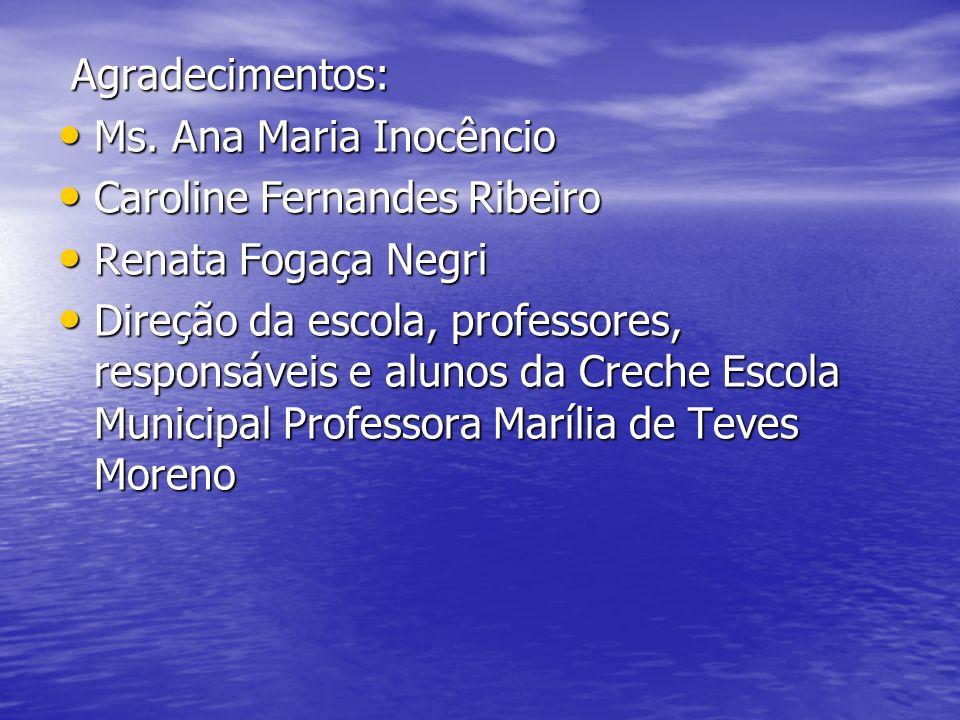 Agradecimentos:Ms. Ana Maria Inocêncio. Caroline Fernandes Ribeiro. Renata Fogaça Negri.