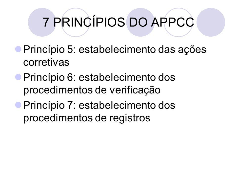 7 PRINCÍPIOS DO APPCC Princípio 5: estabelecimento das ações corretivas. Princípio 6: estabelecimento dos procedimentos de verificação.