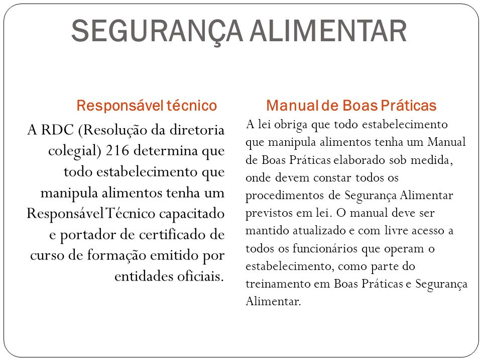 SEGURANÇA ALIMENTAR Responsável técnico. Manual de Boas Práticas.