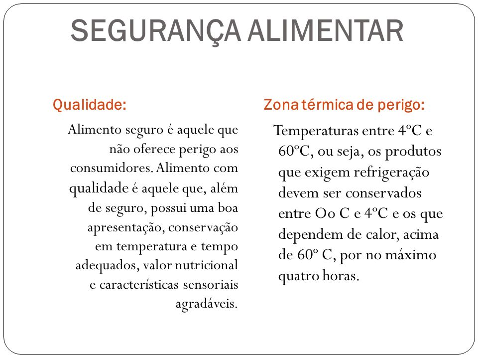 SEGURANÇA ALIMENTARQualidade: Zona térmica de perigo: