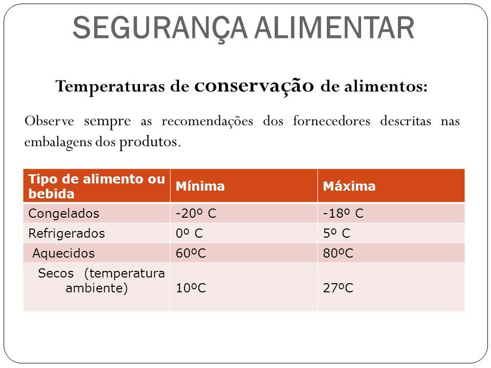 Temperaturas de conservação de alimentos: