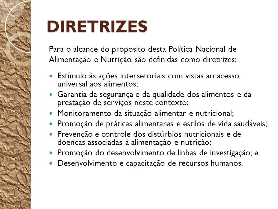 DIRETRIZES Para o alcance do propósito desta Política Nacional de