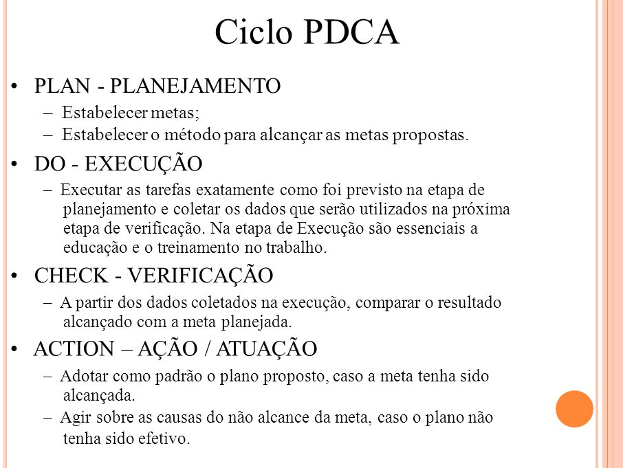 Ciclo PDCA • PLAN - PLANEJAMENTO • DO - EXECUÇÃO • CHECK - VERIFICAÇÃO