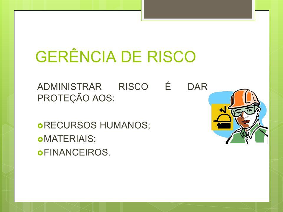 GERÊNCIA DE RISCO ADMINISTRAR RISCO É DAR PROTEÇÃO AOS: