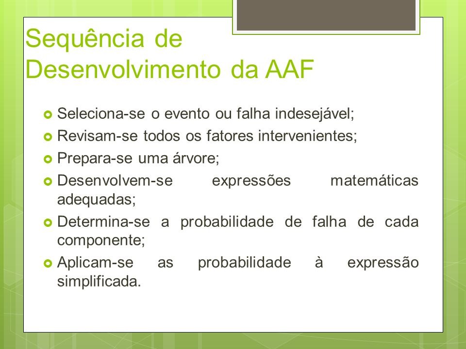 Sequência de Desenvolvimento da AAF