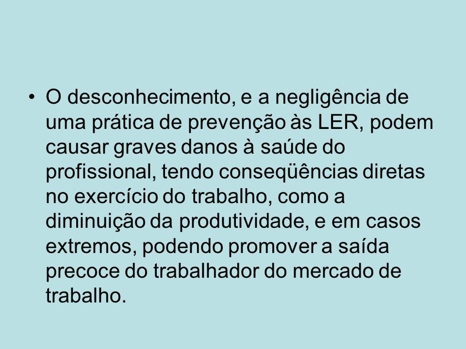 O desconhecimento, e a negligência de uma prática de prevenção às LER, podem causar graves danos à saúde do profissional, tendo conseqüências diretas no exercício do trabalho, como a diminuição da produtividade, e em casos extremos, podendo promover a saída precoce do trabalhador do mercado de trabalho.