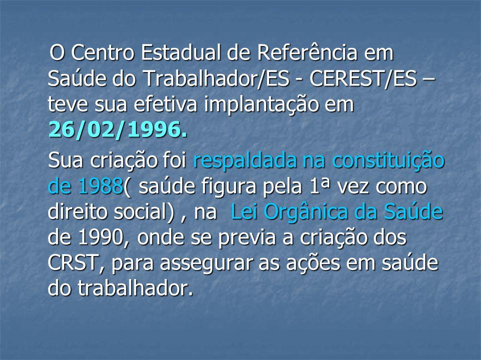 O Centro Estadual de Referência em Saúde do Trabalhador/ES - CEREST/ES – teve sua efetiva implantação em 26/02/1996.