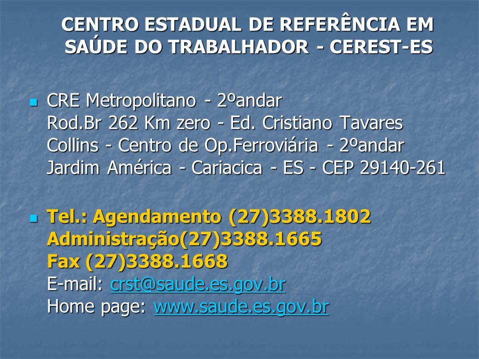 CENTRO ESTADUAL DE REFERÊNCIA EM SAÚDE DO TRABALHADOR - CEREST-ES