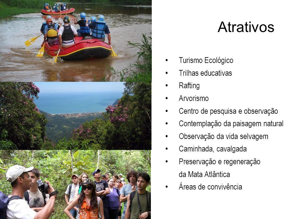 Atrativos Turismo Ecológico Trilhas educativas Rafting Arvorismo