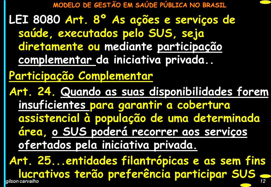 LEI 8080 Art. 8º As ações e serviços de saúde, executados pelo SUS, seja diretamente ou mediante participação complementar da iniciativa privada..