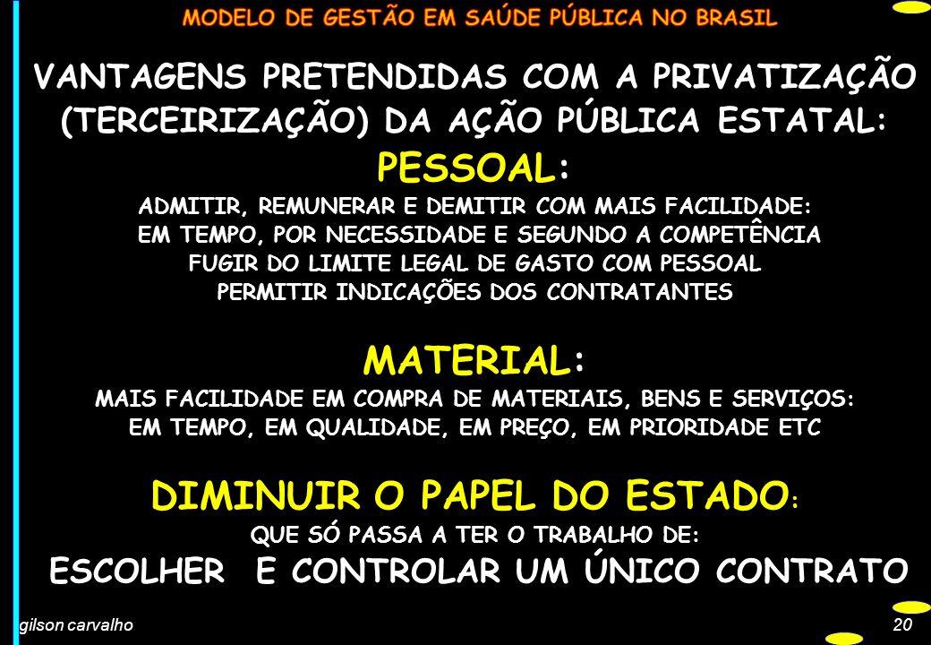 PESSOAL: MATERIAL: DIMINUIR O PAPEL DO ESTADO: