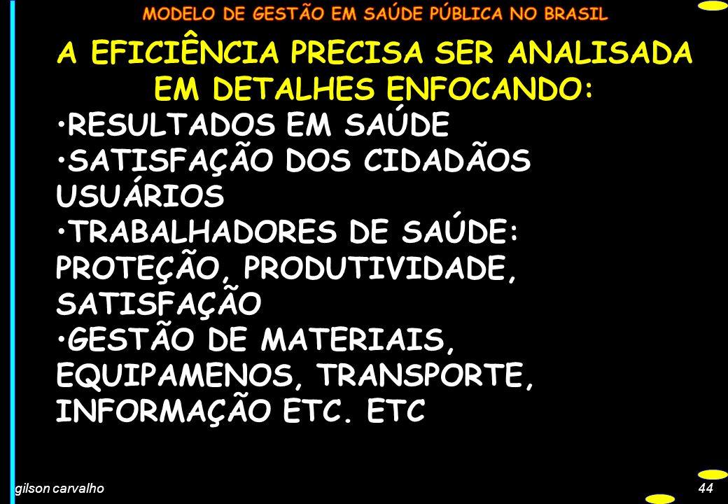 A EFICIÊNCIA PRECISA SER ANALISADA EM DETALHES ENFOCANDO: