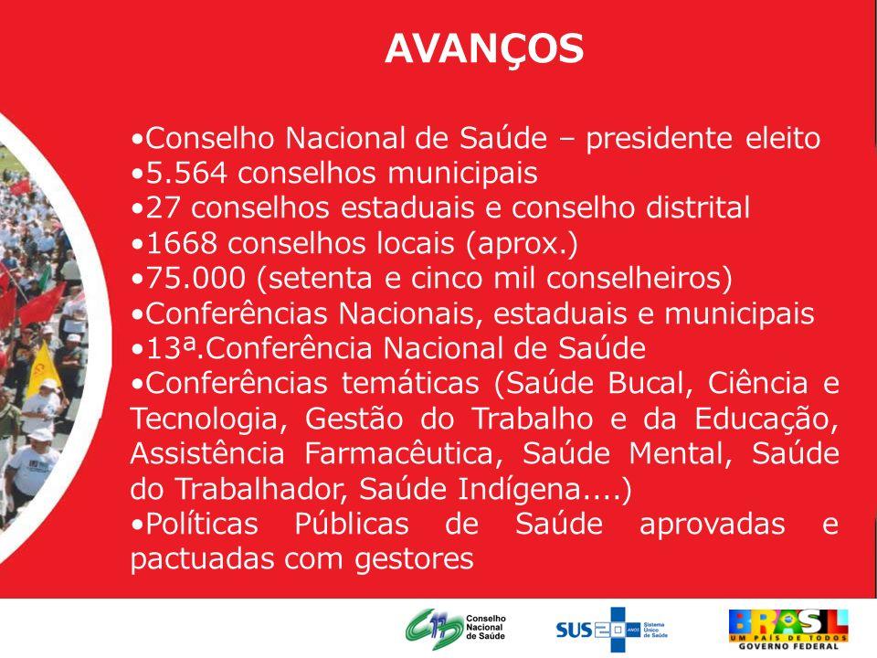 AVANÇOS Conselho Nacional de Saúde – presidente eleito