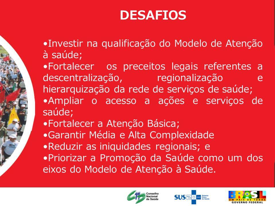 DESAFIOS Investir na qualificação do Modelo de Atenção à saúde;