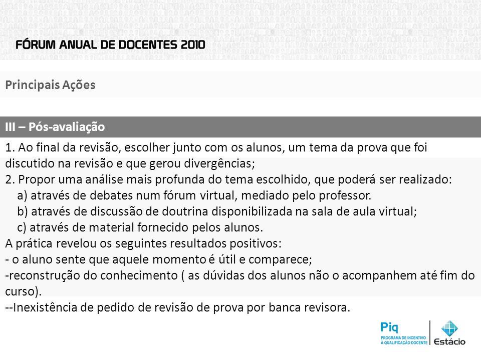 Principais AçõesIII – Pós-avaliação.