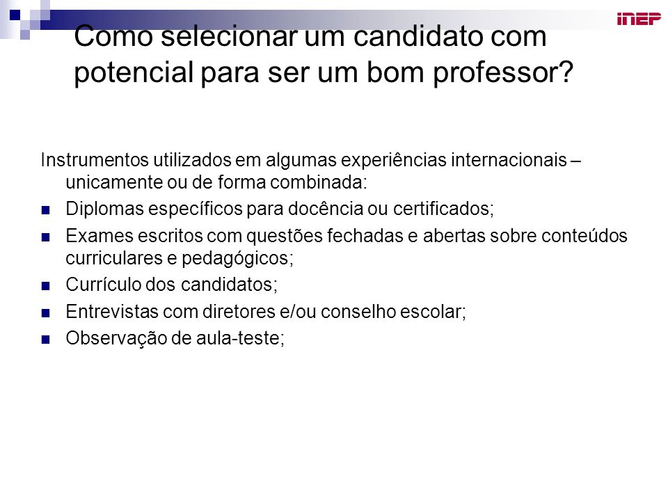 Como selecionar um candidato com potencial para ser um bom professor