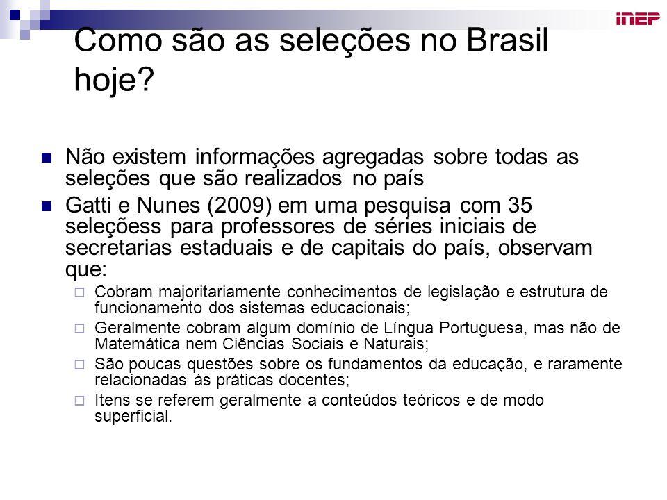 Como são as seleções no Brasil hoje