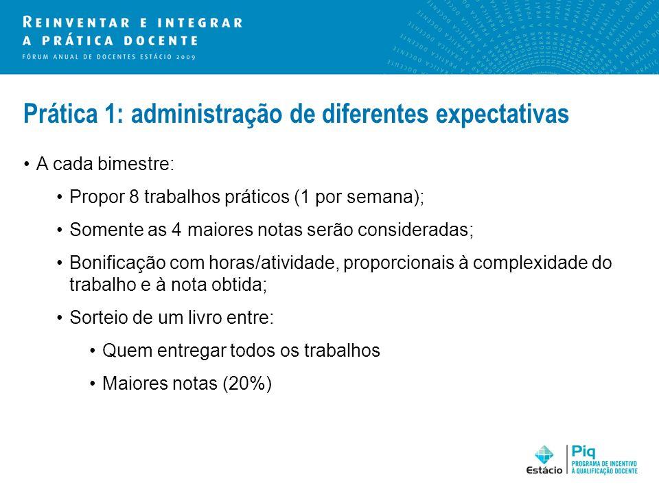 Prática 1: administração de diferentes expectativas