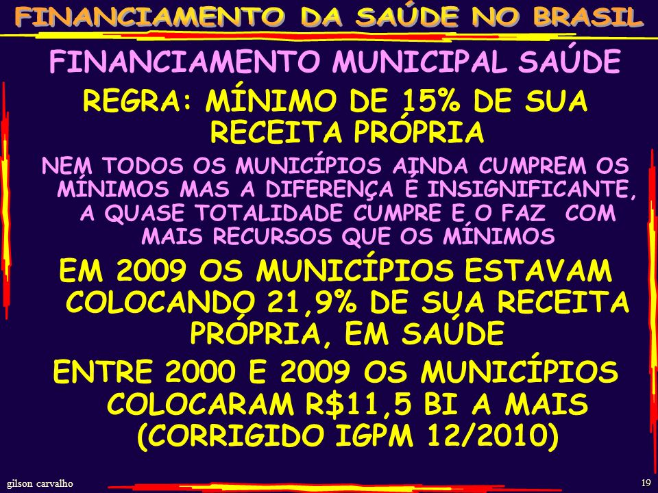 FINANCIAMENTO MUNICIPAL SAÚDE