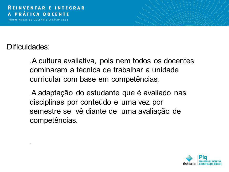Dificuldades: .A cultura avaliativa, pois nem todos os docentes dominaram a técnica de trabalhar a unidade curricular com base em competências;