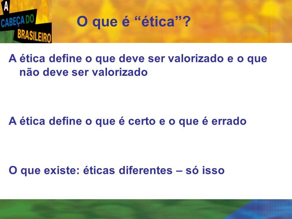 O que é ética A ética define o que deve ser valorizado e o que não deve ser valorizado. A ética define o que é certo e o que é errado.