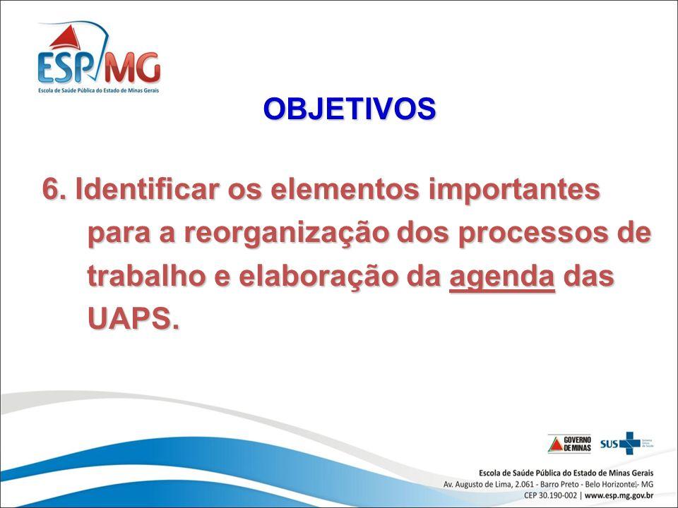 OBJETIVOS 6. Identificar os elementos importantes para a reorganização dos processos de trabalho e elaboração da agenda das UAPS.