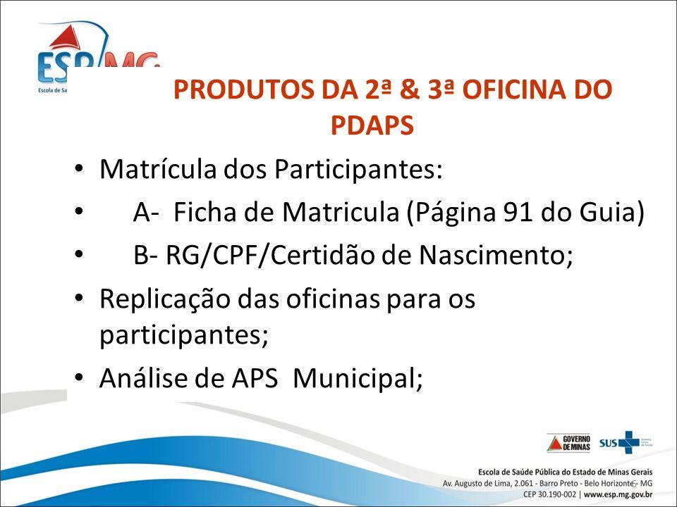 PRODUTOS DA 2ª & 3ª OFICINA DO PDAPS