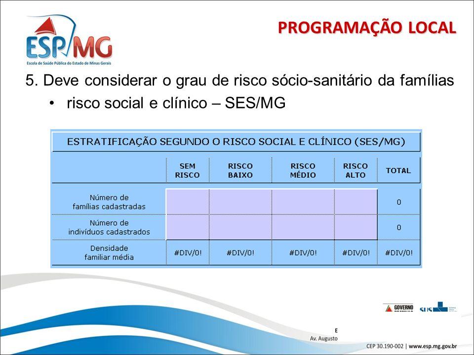 PROGRAMAÇÃO LOCAL Deve considerar o grau de risco sócio-sanitário da famílias.