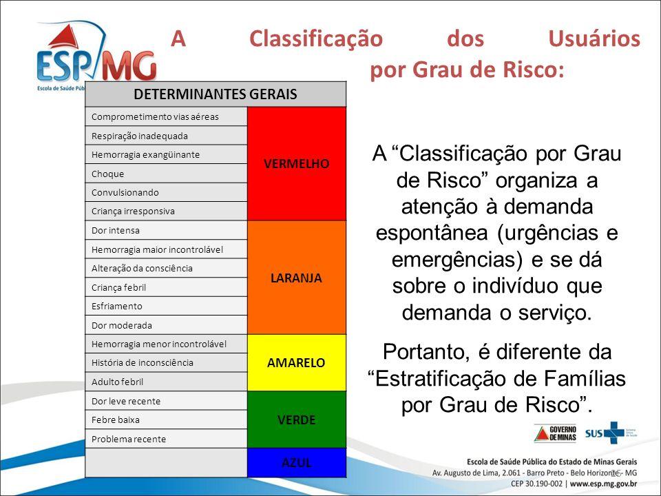 A Classificação dos Usuários por Grau de Risco:
