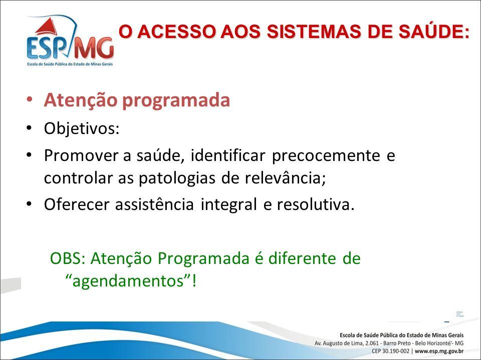 Atenção programada O ACESSO AOS SISTEMAS DE SAÚDE: Objetivos: