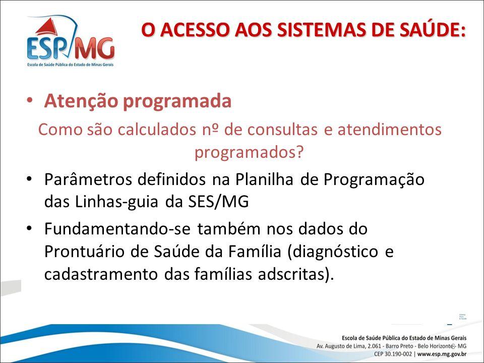 Como são calculados nº de consultas e atendimentos programados