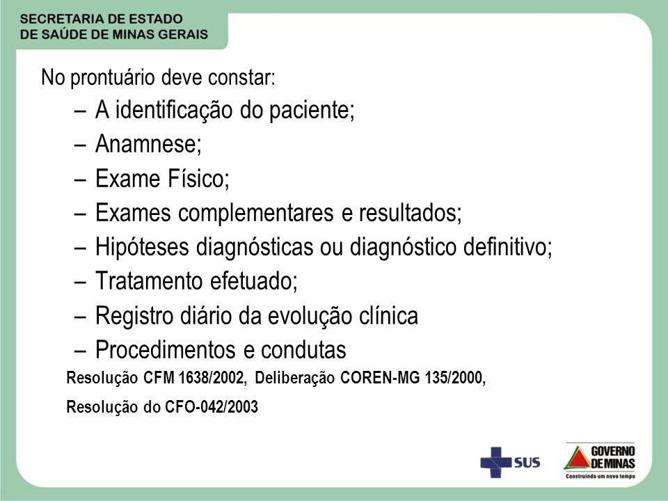A identificação do paciente; Anamnese; Exame Físico;