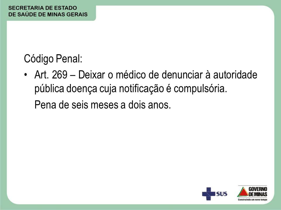 Código Penal: Art. 269 – Deixar o médico de denunciar à autoridade pública doença cuja notificação é compulsória.