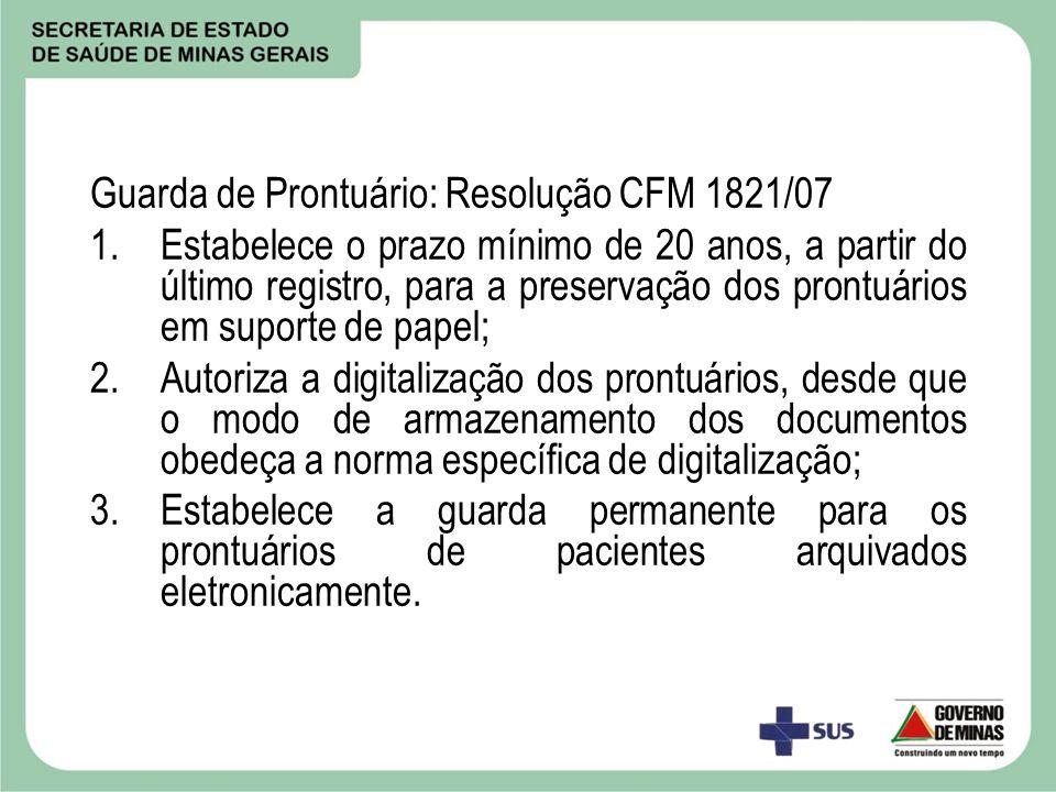 Guarda de Prontuário: Resolução CFM 1821/07
