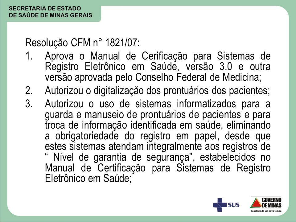 Resolução CFM n° 1821/07: