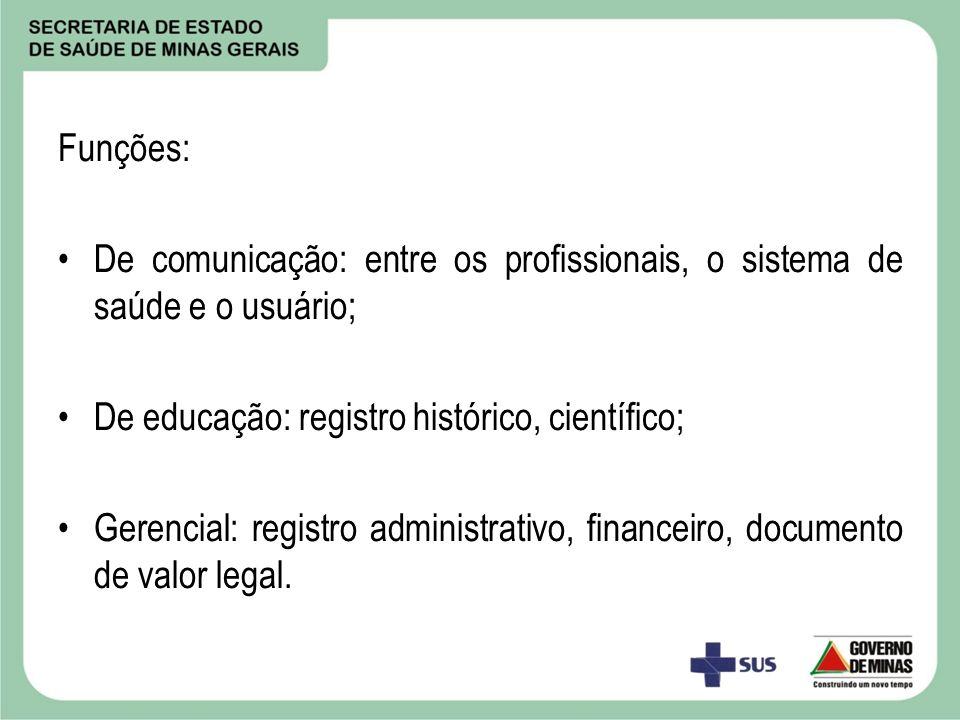 Funções: De comunicação: entre os profissionais, o sistema de saúde e o usuário; De educação: registro histórico, científico;