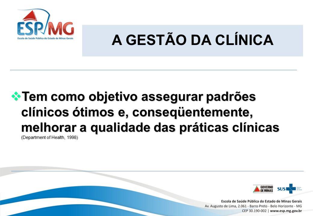 A GESTÃO DA CLÍNICA Tem como objetivo assegurar padrões clínicos ótimos e, conseqüentemente, melhorar a qualidade das práticas clínicas.