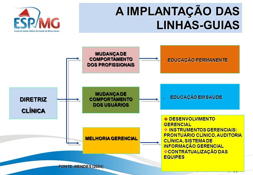 A IMPLANTAÇÃO DAS LINHAS-GUIAS